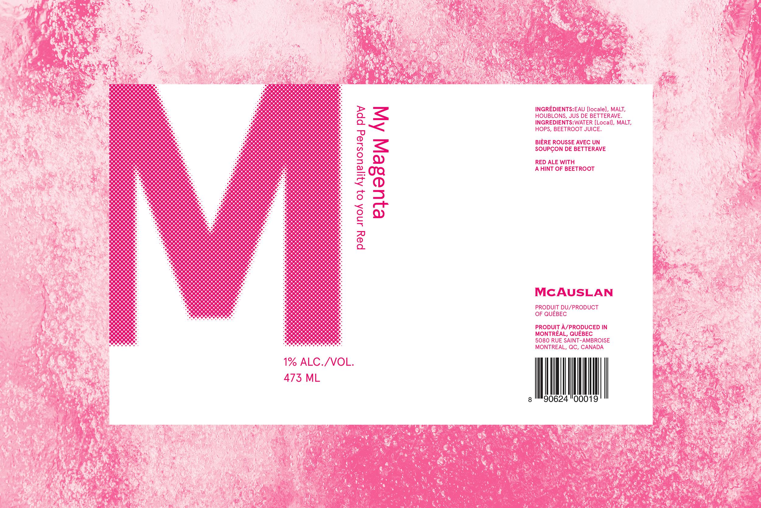 Magenta beer label on beer texture