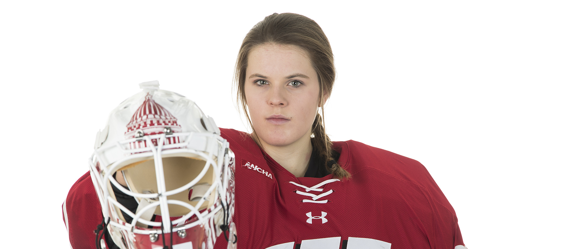 Wisconsin Badgers women's hockey goalie Kristen Campbell (35) during a portrait shoot at LaBahn Arena Thursday, November 16, 2017, in Madison, Wis. (Photo by David Stluka)