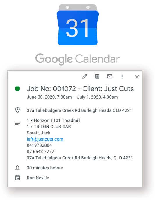 CloudRent integrates seamlessly to Google Calendars