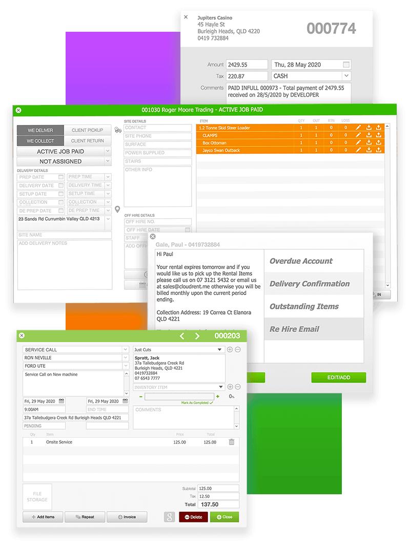 Screenshots from CloudRent Rental Software