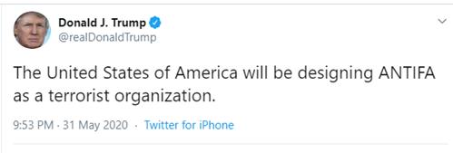 President Trump's Tweet on ANTIFA