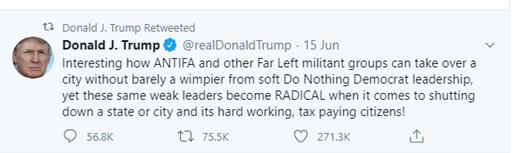 Donald Trump blaming Democrats being soft on ANTIFA