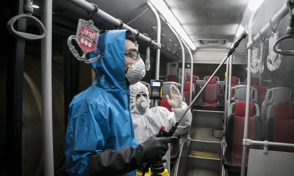 Spraying chemicals to help keep the coronavirus under control, Iran