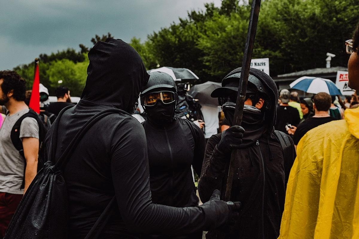 Antifa counter-protesters outside Lafayette Square during Unite the Right 2