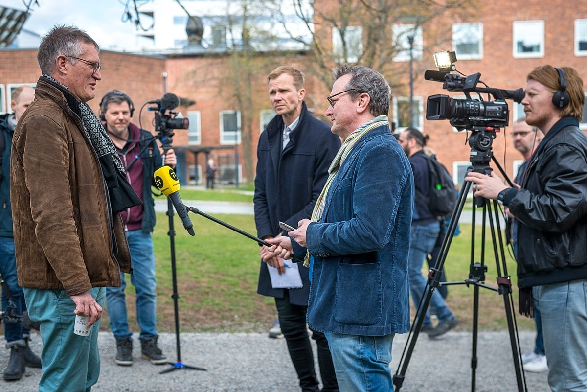 Anders Tegnell during the daily press conference outside the Karolinska Institute in Stockholm, Sweden