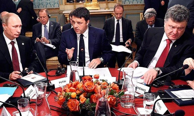 Vladimir Putin, Matteo Renzi and Petro Poroshenko