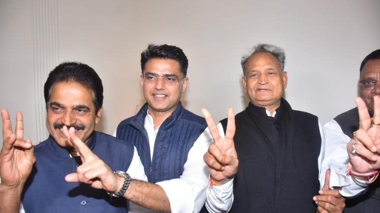 Sachin Pilot and Ashok Gehlot after Victory in Rajasthan Elections
