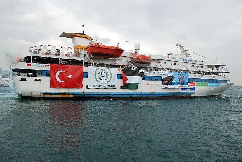 Mavi Marmara on the way to deliver humanitarian aid to Gaza