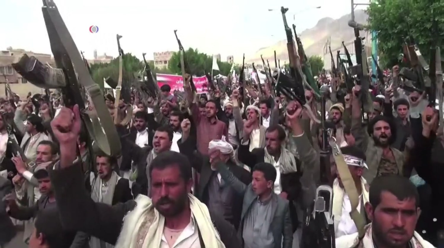 Houthi rebels protesting the airstrike in Sana