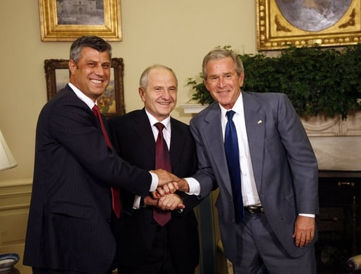 US President George Bush with Kosovo President Fatmir Sejdiu and Kosovo Prime Minister Hashim Thaci in White House