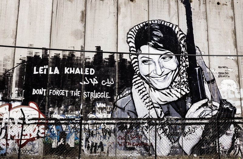 Graffiti of former PFLP militant, Leila Khaled