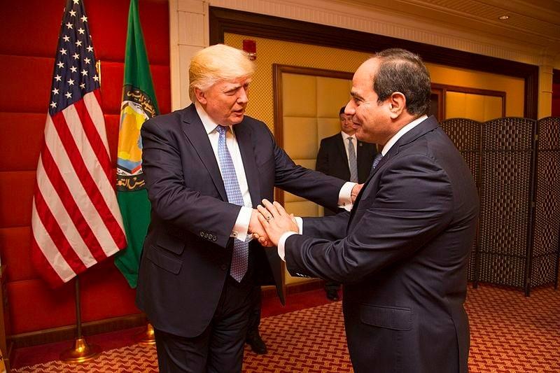 President Trump (L) greeting Al-Sisi (R)