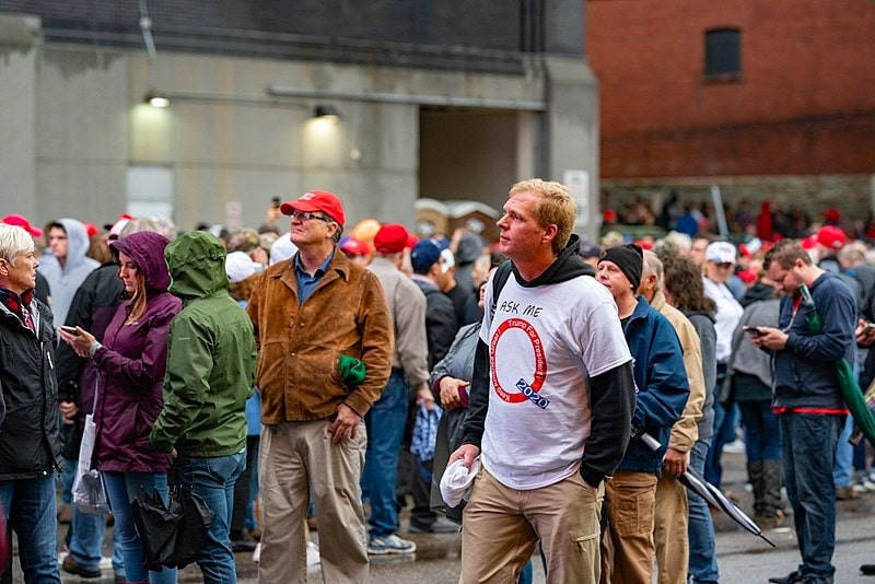 QAnon supporter in a Trump Rally