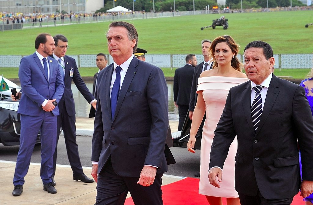 Brazillian President Jair Bolsonaro and Hamilton Mourāu in presidential inauguration ceremony