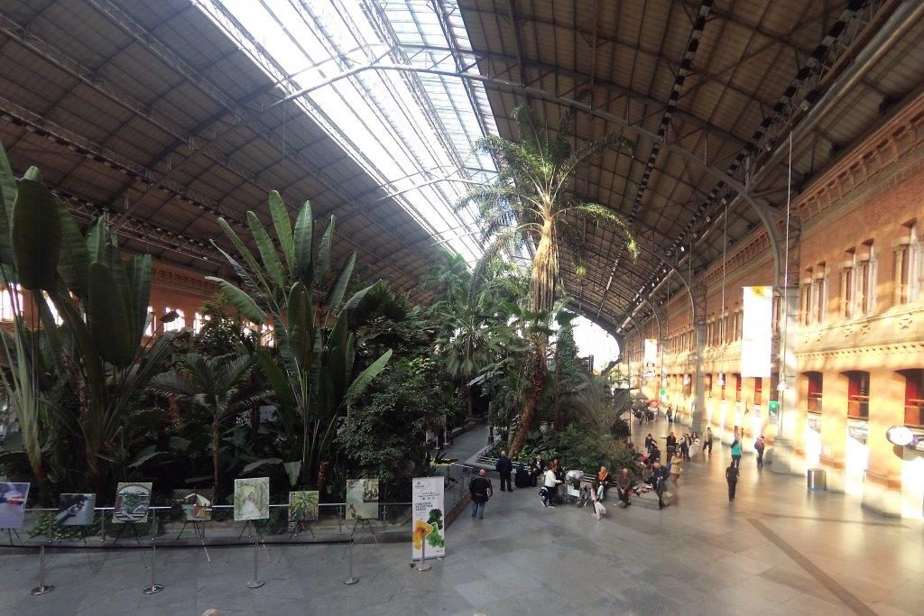 Madrid's railway station with big green plants and trees inside.