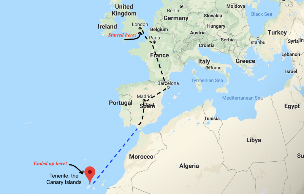 Sustainable travel itinerary marked on map from London to Tenerife.