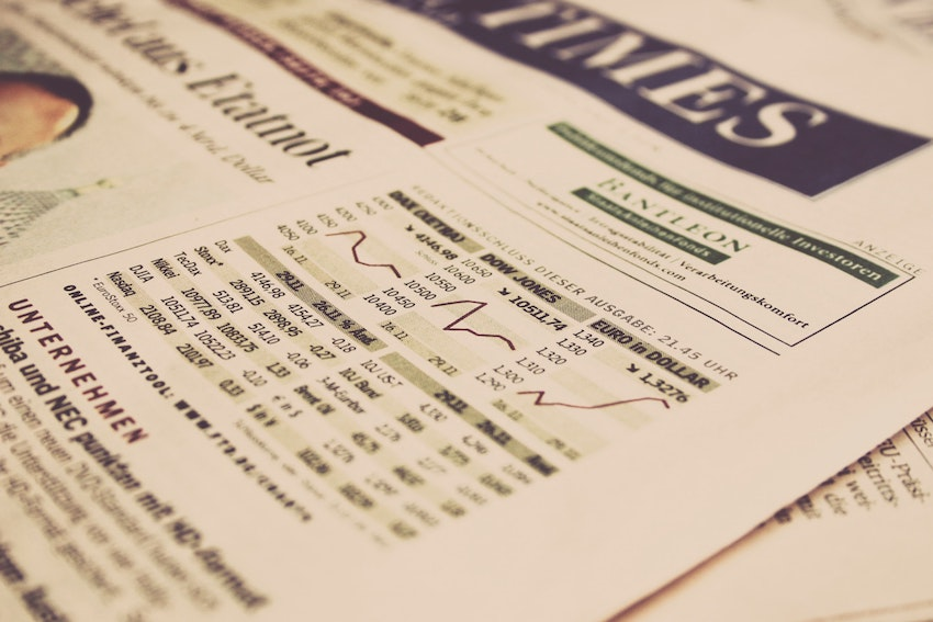 Stock prices in news paper.