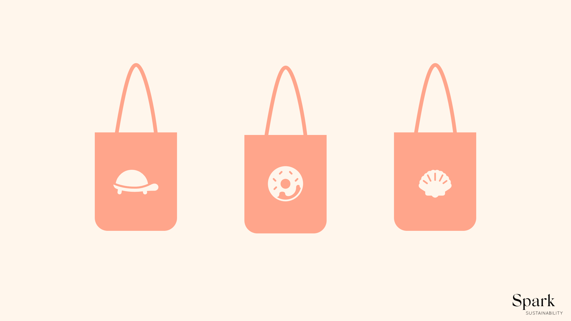 Graphic design of three tote bags. Sustainable tip: hoarding tote bags is not better than using plastic bags.