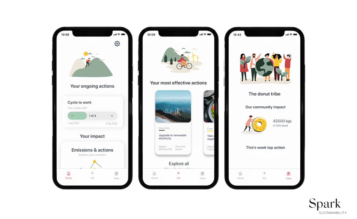 Pictures of The Donut app, the carbon calculator that calculates your carbon footprint and gives you tips on how to reduce it.
