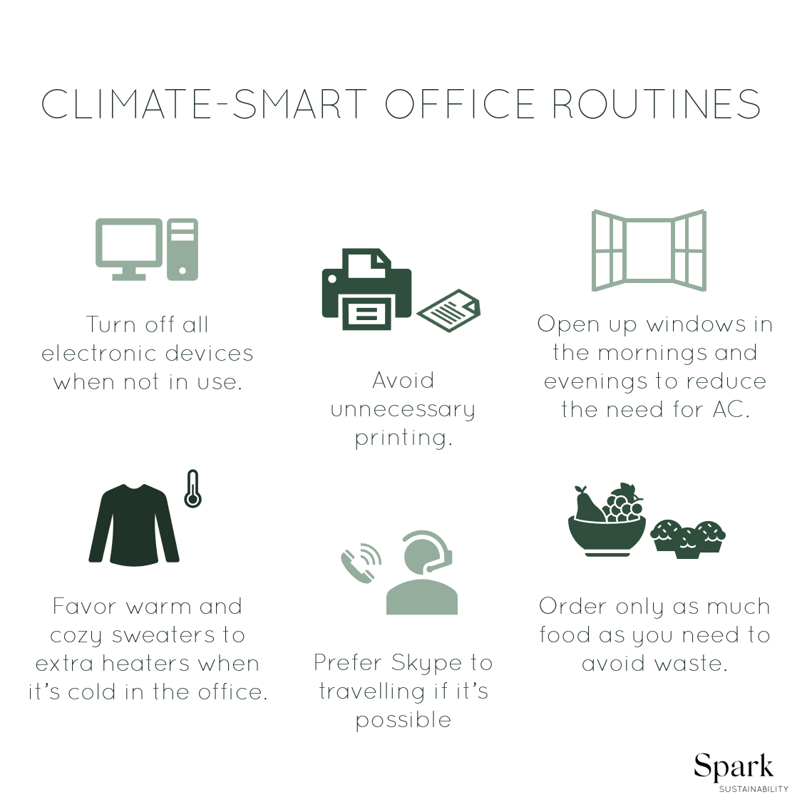 Picture of a few sustainable office routines – done in relation to emission calculations consultancy work.