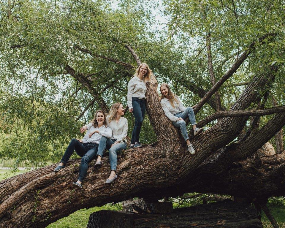 Spark Sustainability's climate-smart team laughing sitting on a branch of a big tree.