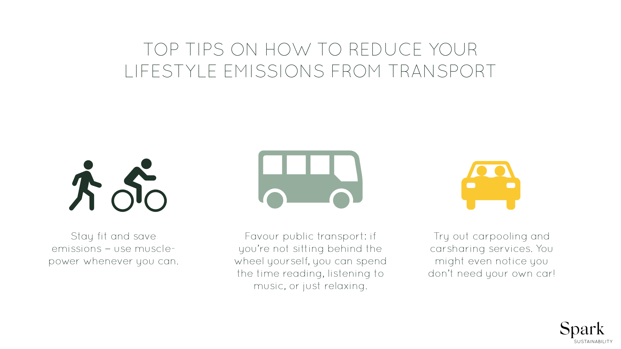 Sustainable transport – top 3 tips on how to reduce lifestyle emissions from transport.