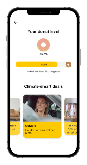 Screenshot of the Carbon Donut app, showing the climate-smart deals feature.