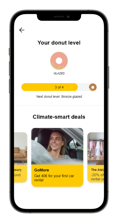 Screenshot of the Carbon Donut app showing the user's donut level and the climate-smart deals that have been unlocked.