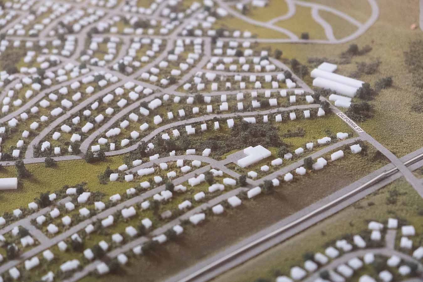 Photo of a physical model of a neighborhood