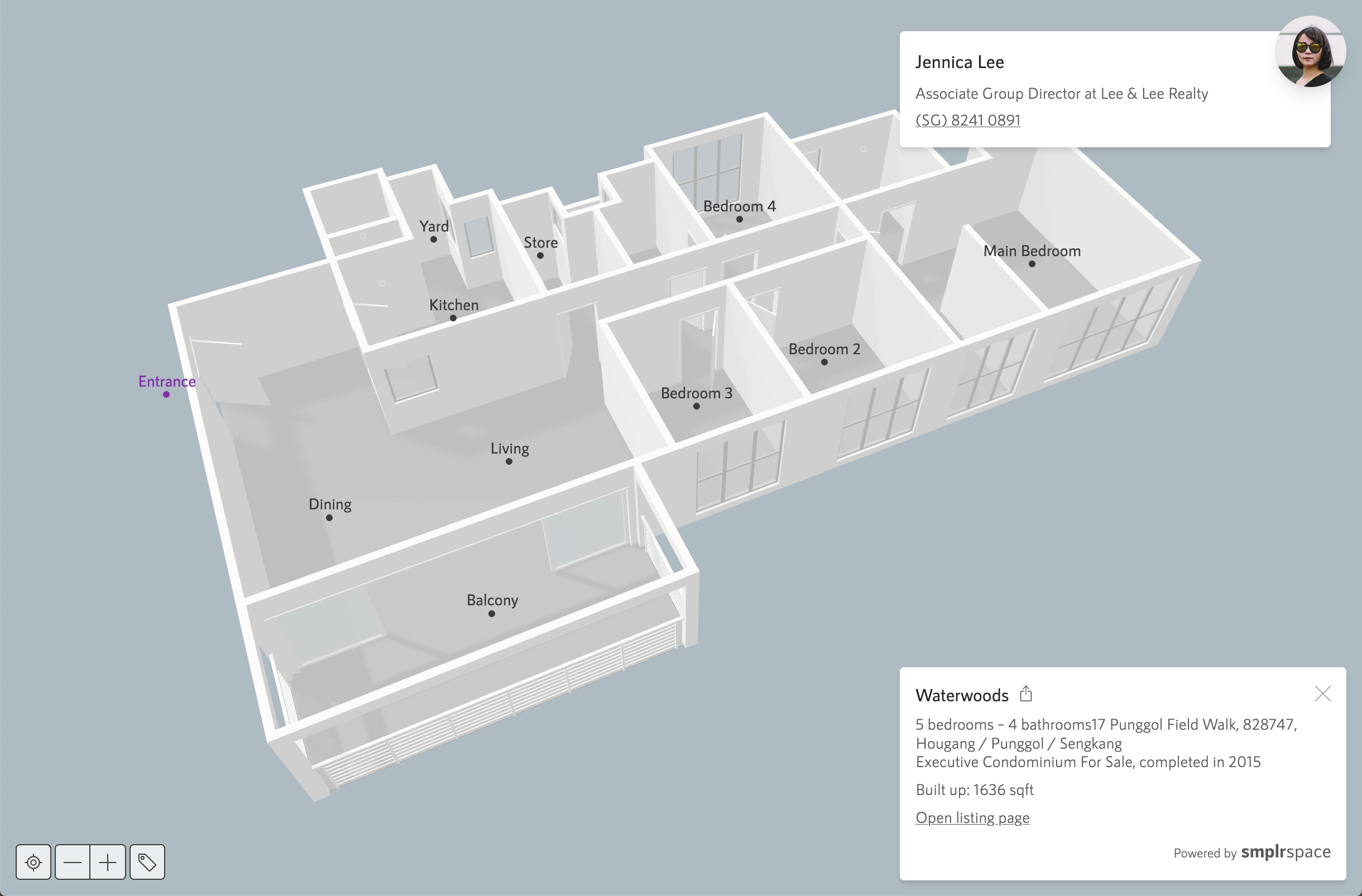Screenshot of a 3D apartment sketched with Smplrspace