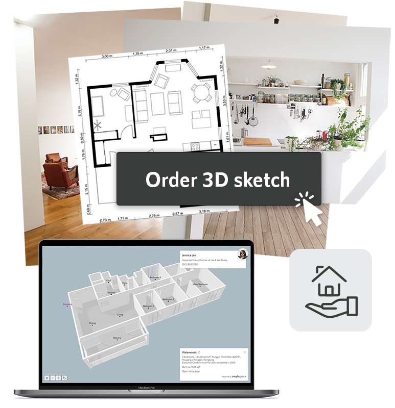 Montage of photos, a floor plan, a button to order a 3D sketch, and a laptop showing a 3D model.