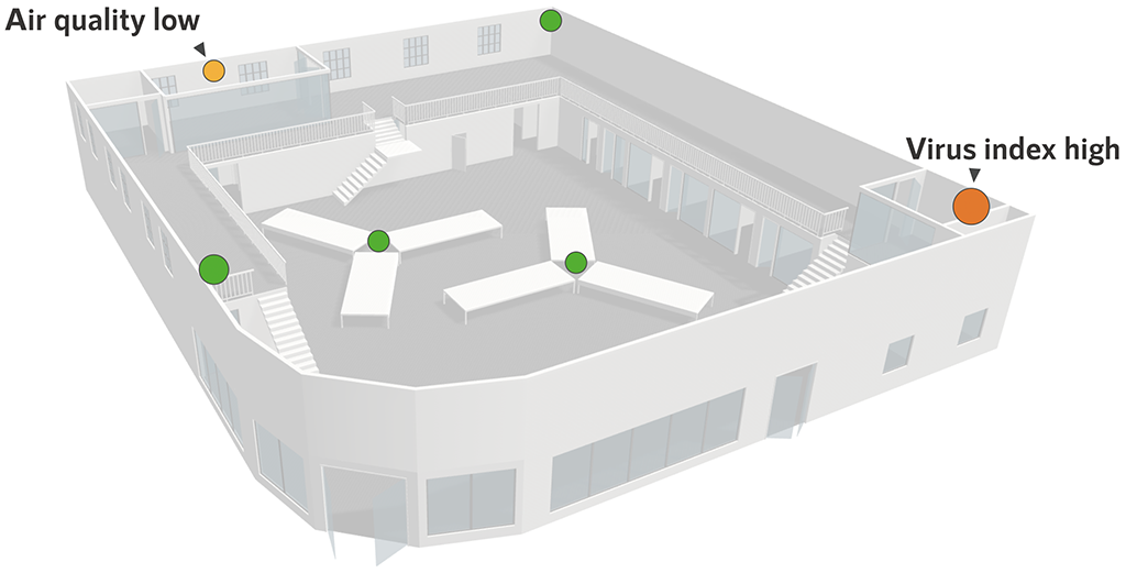 3D building with sensor data points