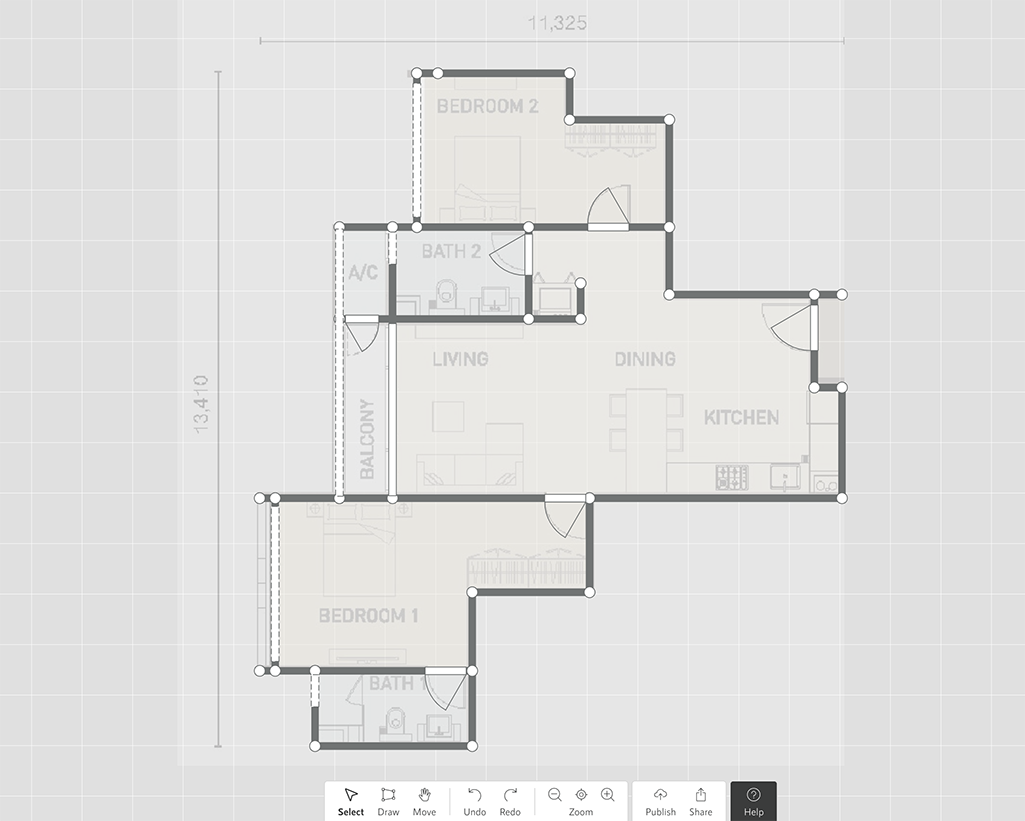 Screenshot of a floor plan editor