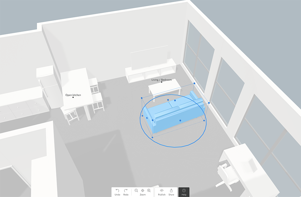 Screenshot of a 3D space planner with the sofa being selected