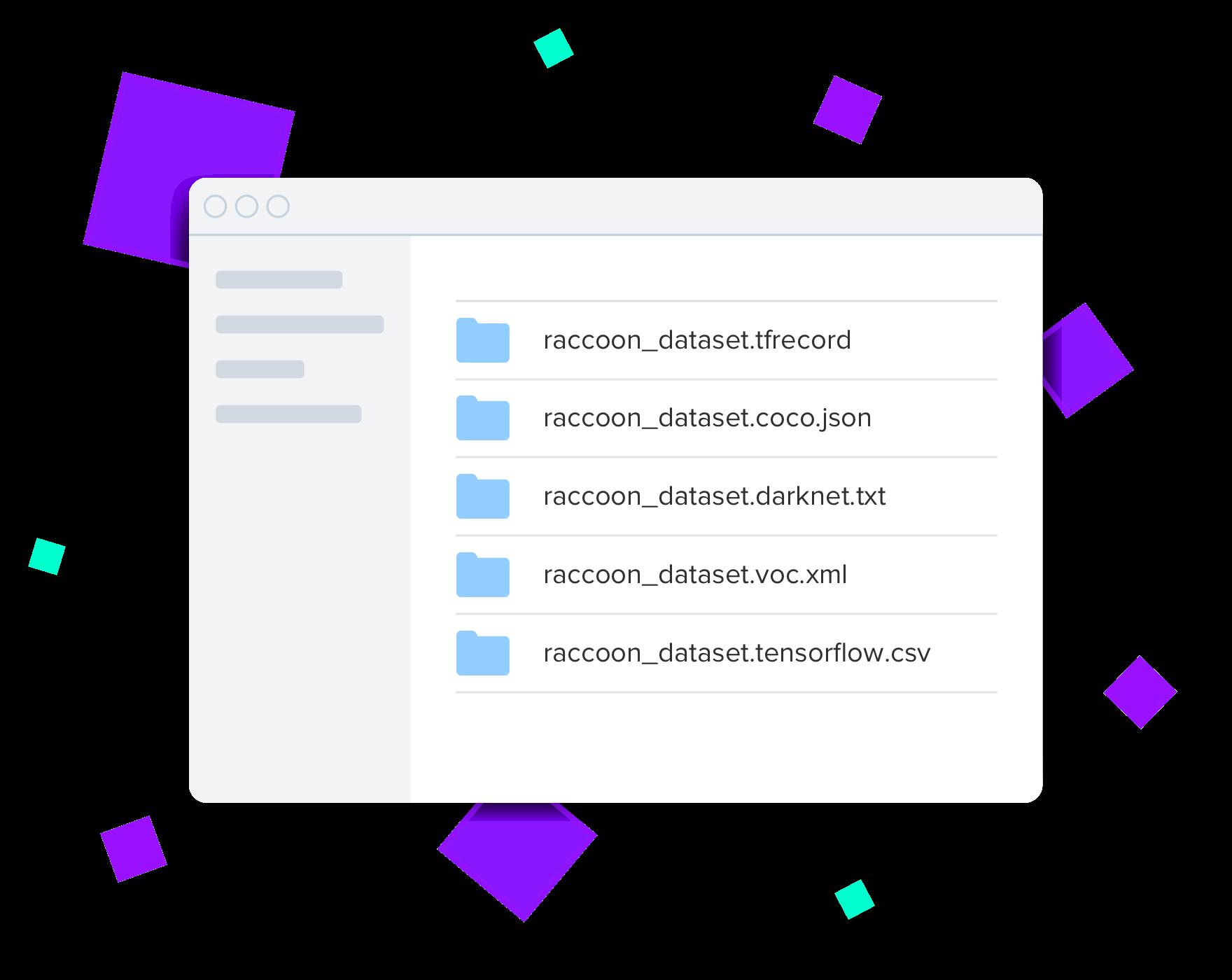 Roboflow export formats (tfrecord, COCO JSON, Darknet TXT, VOC XML, Tensorflow CSV)