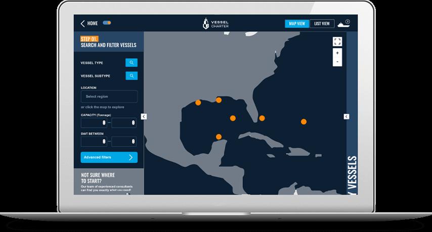 Laptop outlining Vessel Charter database