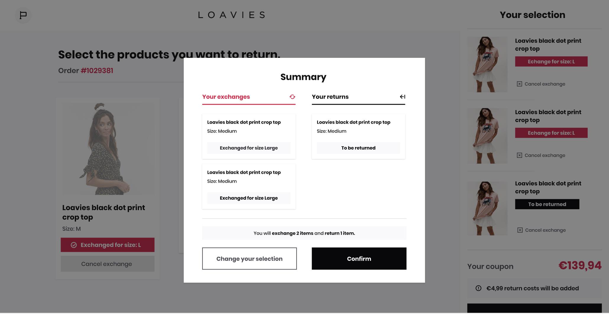 Screenshot of Returnista dashboard home page