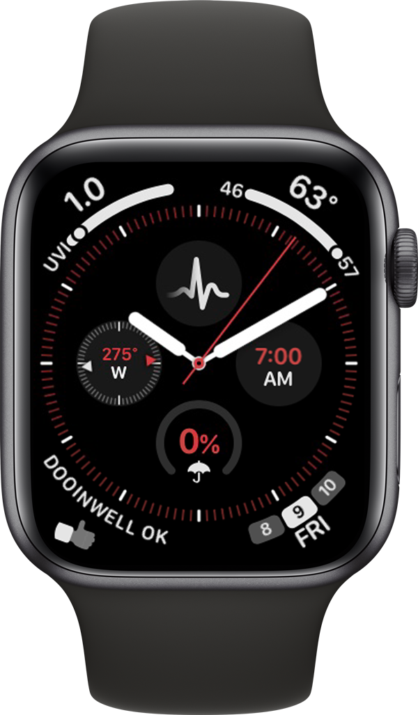 Picture of an Apple Watch with the Dooinwell Link app complication.