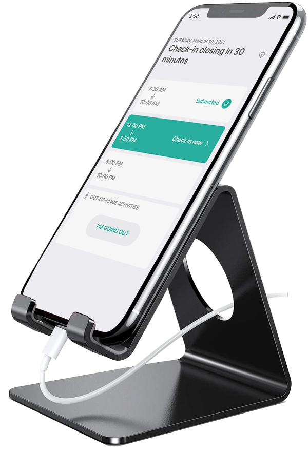 Screenshot of an iPhone on a stand with the Dooinwell app in kiosk-mode - with a pending action.