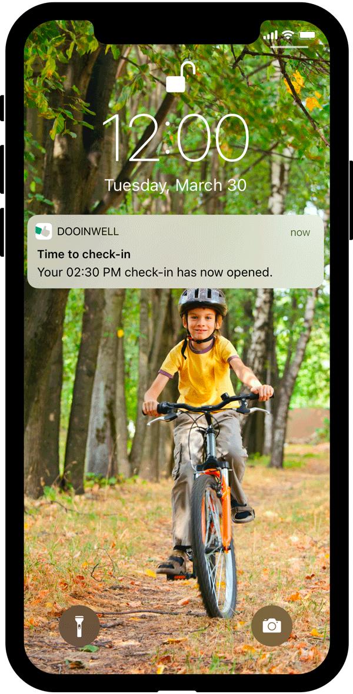 Screenshot of an iPhone lock-screen with a Dooinwell notification