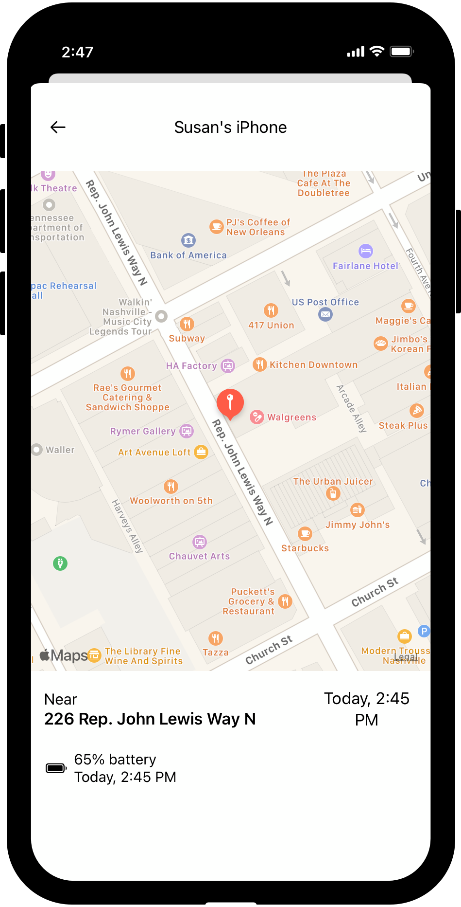 Screenshot of the Dooinwell Link app, showing the location of the older adult on a map.