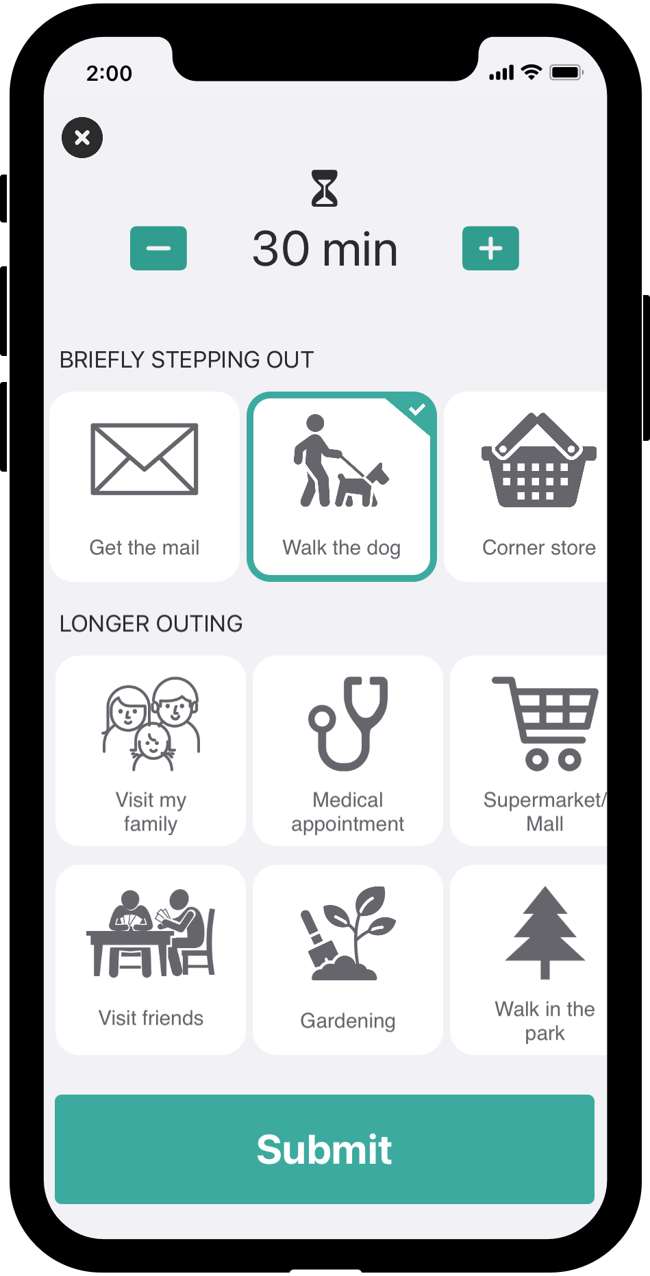 Screenshot of the Dooinwell app showing the registration of an out-of-home activity.
