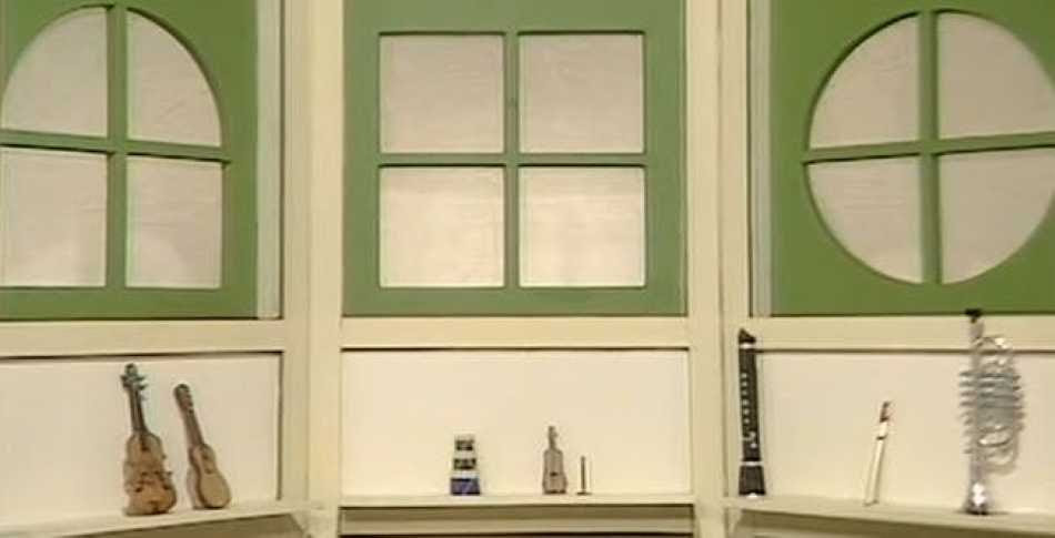 Green window frame in a square shape