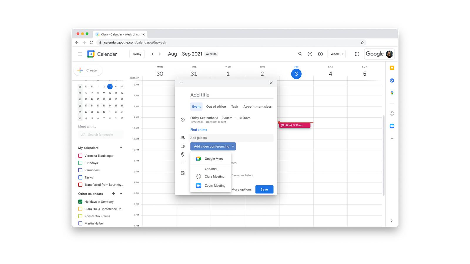Schedule Ciara meetings directly in Google calendar.