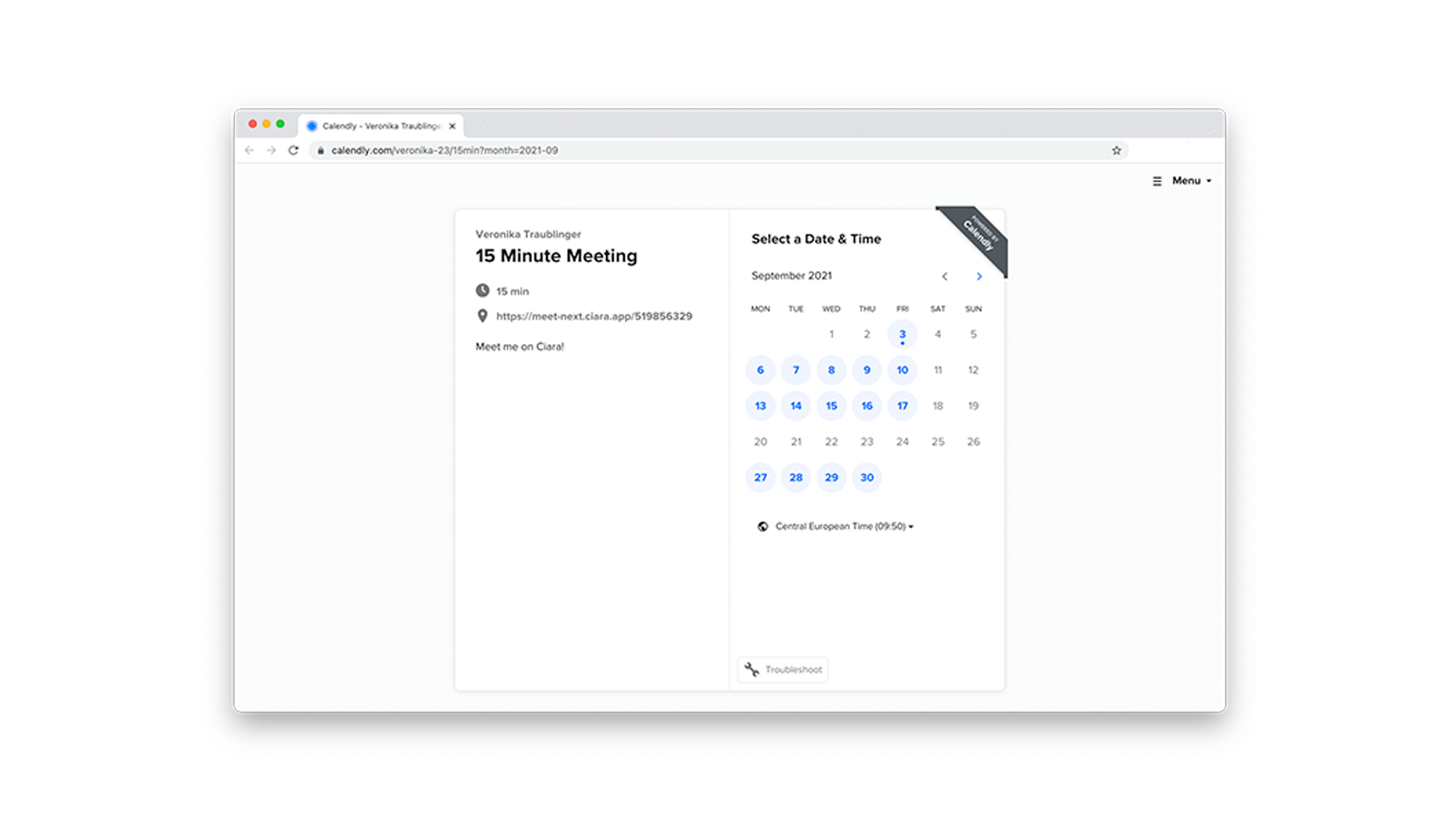 Schedule Ciara meetings via Calendly from anywhere and eliminate admin work.