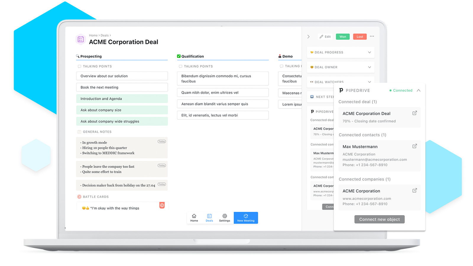 Take notes that instantly sync to Pipedrive and stop your CRM suffering.