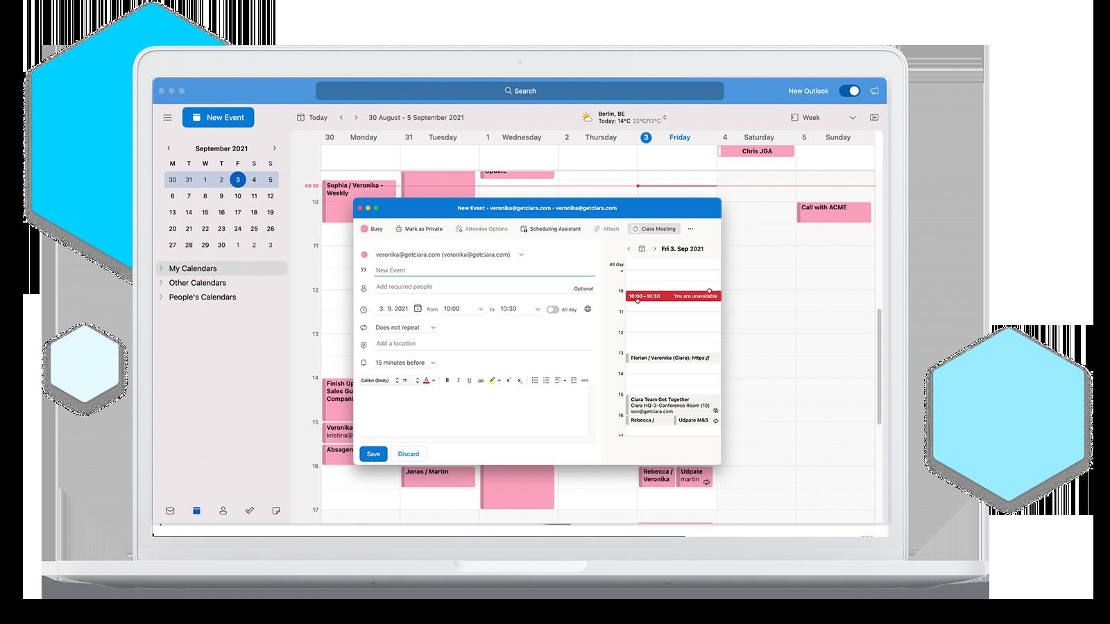 Schedule Ciara meetings directly in Outlook.