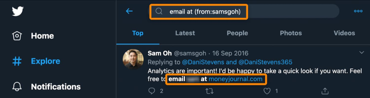 twitter advanced search to find email address
