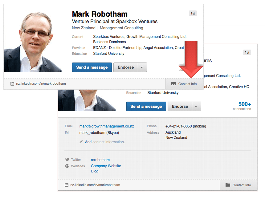 contact information on linkedin