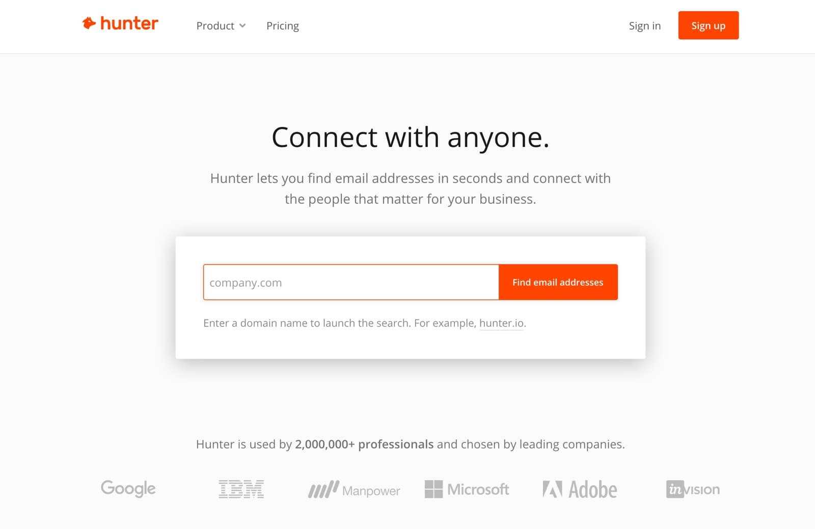 hunter email finder tool by domain name